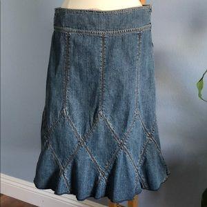 DKNY Jeans Flared Midi Denim Skirt